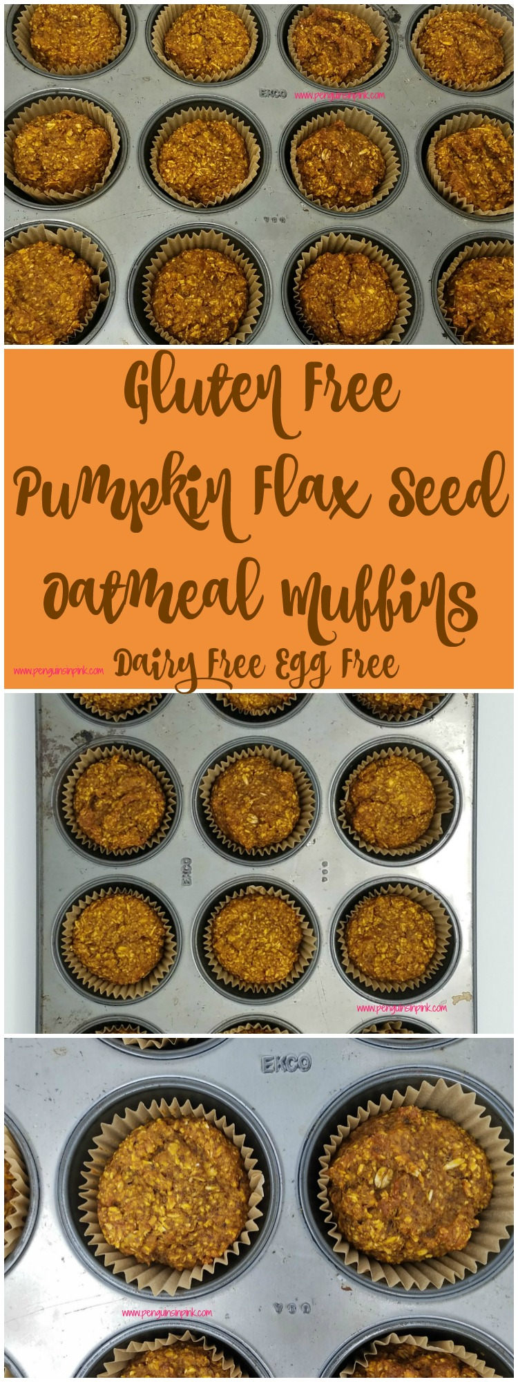 These Gluten Free Pumpkin Flax Seed Oatmeal Muffins are super healthy, egg free, dairy free, and vegan friendly and oh so yummy! They are perfect for cool fall mornings or really anytime of year!