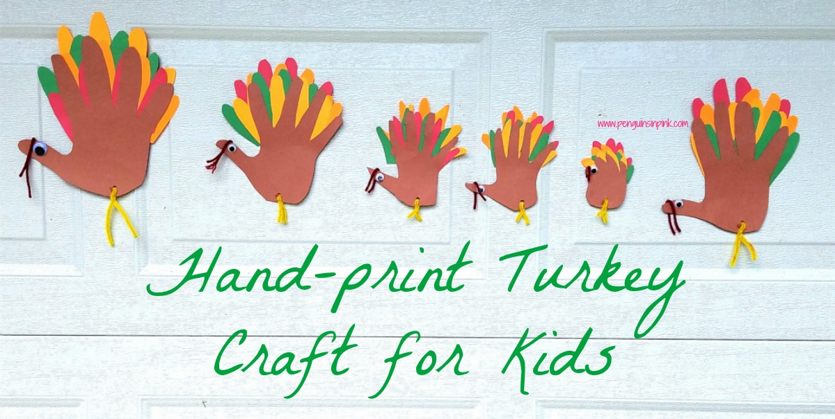 Thanksgiving is a great time to make hand-print turkey crafts for kids. Using multiple cut-out of fingers from different colors of construction paper allow for the hand-print turkeys to have full tails.