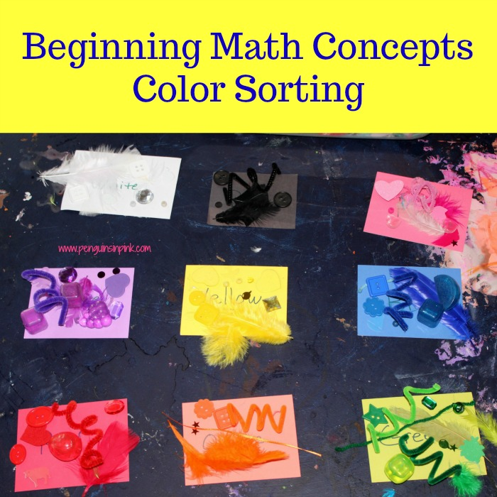 Beginning math concepts color sorting contains 6 activities to introduce math concepts like colors, shapes, patterns, and quantities to your kids using different colored items.