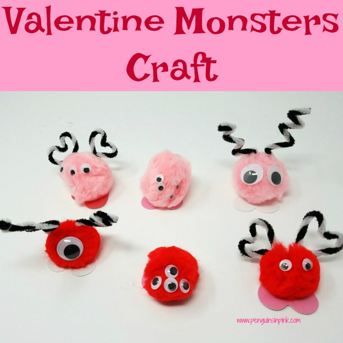 Valentine Monsters Craft are an easy, fun craft for kids to make cute, fuzzy Valentine monsters. Perfect for gift giving to everyone