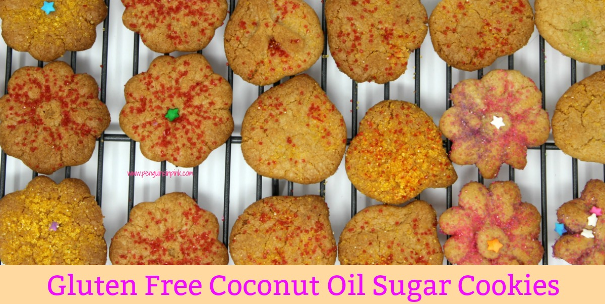 These gluten free coconut oil sugar cookies are amazing. Soft and chewy on the inside and crispy on the outside. They are perfect for adding colored sugar or sprinkles to.