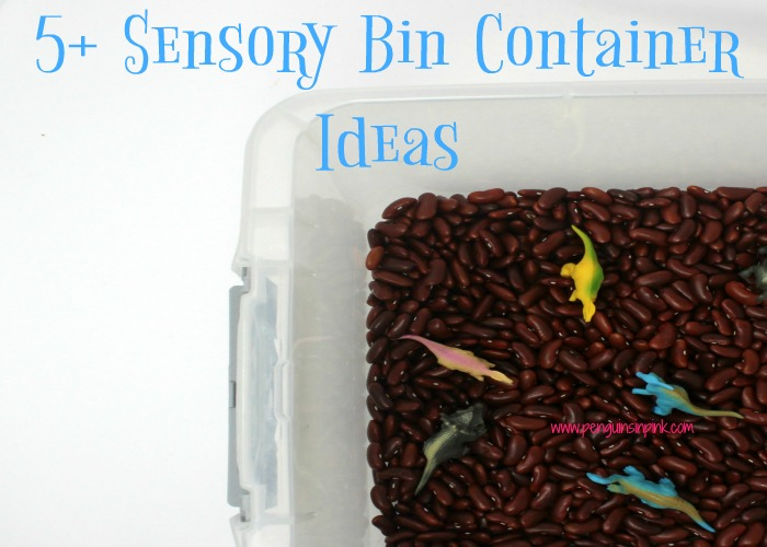 A sensory bin is a safe way for children to explore objects with their hands. Here are 5+ sensory bin container ideas and the benefits of each one.