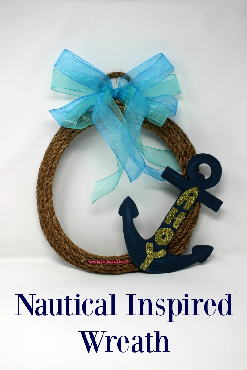 "Get ready to sail into summer with this fun and easy to make nautical inspired wreath. The wreath base is made from coiled rope. The wooden anchor welcomes guest with an ""Ahoy"" while the bow invokes thoughts of the ocean."