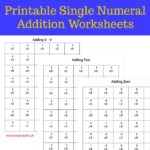 Printable Single Numeral Addition Worksheets