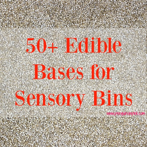 A huge list of 50+ edible bases for sensory bins. From crunchy alphabet cereal to wiggly spaghetti noodles and cold ice to jiggly gelatin this list has all the best bases for kids to touch, taste, and smell.