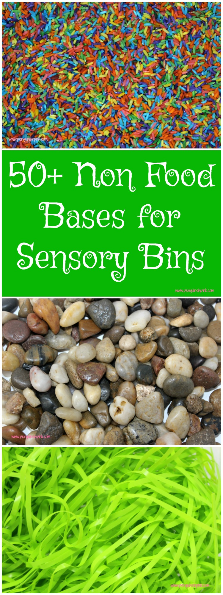 A huge list of 50+ non food bases for sensory bins. From rainbow rice to squishy play dough and gooey aloe to hard buttons this list has all the best bases for kids to touch and sometimes smell.