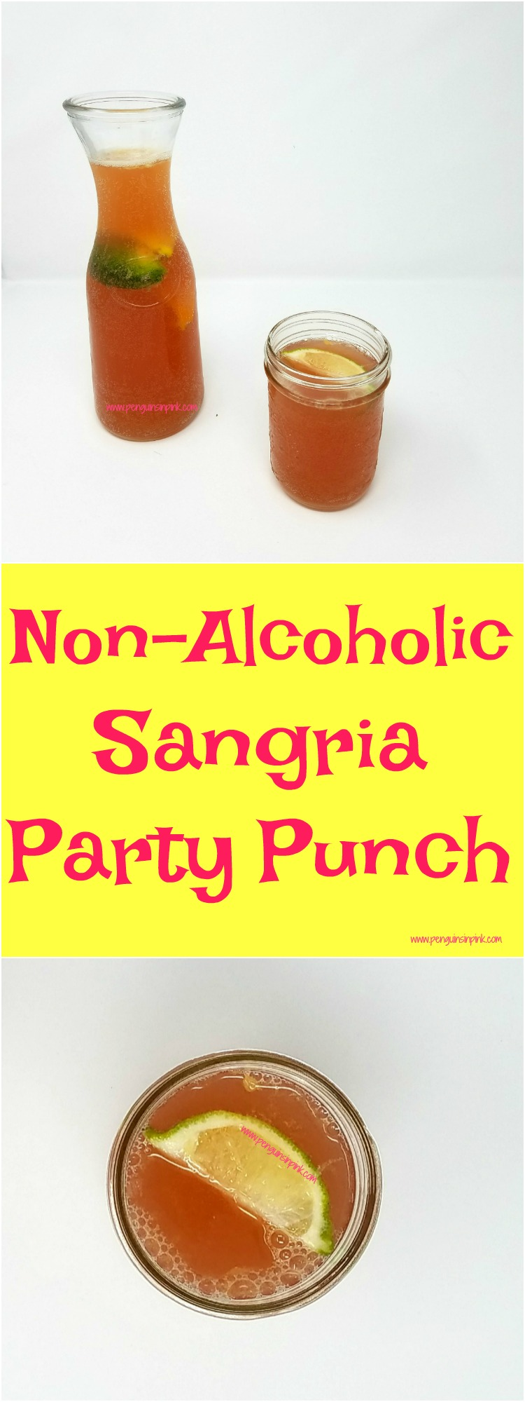 Non-alcoholic sangria party punch has become my go-to recipes for a party simply because it is one of the easiest and best non-alcoholic sangria recipes ever! This recipe makes a huge punch bowl of delicious non-alcoholic sangria that can be stored in the fridge for up to a week.