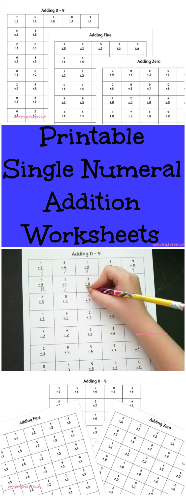 These FREE printable single numeral addition worksheets contain 40 problems per page with one page for numbers 0-9. There are also 4 additional sheets that contain a mixture of all the numbers 0-9.
