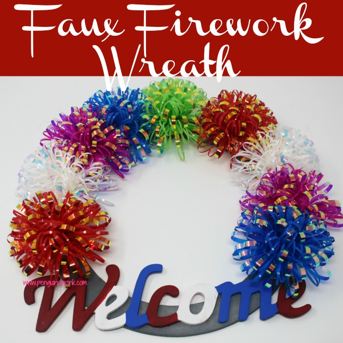 Get ready to celebrate the Fourth of July with this fun and easy to make faux fireworks wreath. The wooden welcome sign is in traditional Fourth of July colors while the faux fireworks are in an array of colors.