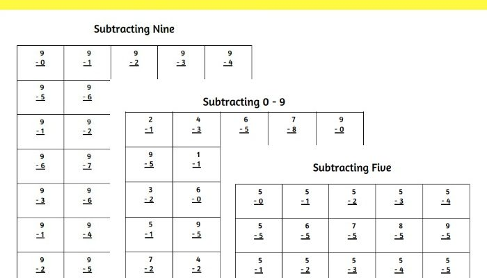 Printable Single Numeral Subtraction Worksheets