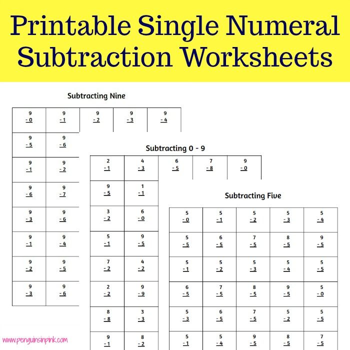 These FREE printable single numeral subtraction worksheets contain 40 problems per page with one page for numbers 0-9. There are also 4 additional sheets that contain a mixture of all the numbers 0-9.