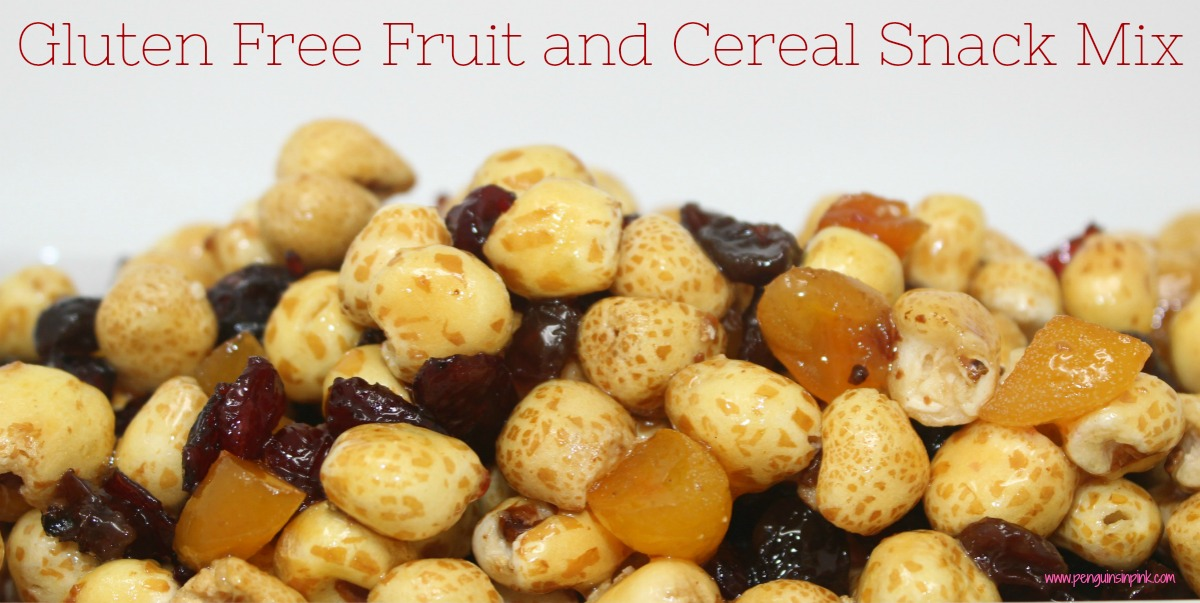 Dried apricots, raisins, and cranberries combine with crunchy corn puff cereal to create a yummy Gluten Free Fruit and Cereal Snack Mix. This snack mix travels well making it perfect for car rides, ball games, hiking, or just watching a movie at home.