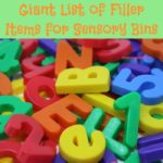 A Giant List of Filler Items for Sensory Bins. Over 50 filler items from yarn to wooden blocks and sticks to shaped buttons this list has all the best filler items for kids to touch, hear, and possibly smell and taste.