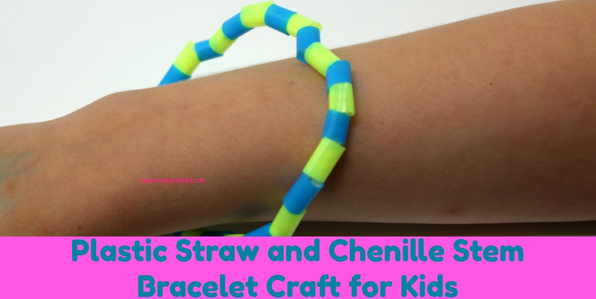 Plastic Straw and Chenille Stem Bracelet Craft for Kids is simple and fun to make. Not only are they great gifts for Mother's Day, Father's Day, Grandparents Day, a birthday or any other special occasion but they work on fine motor skills too.
