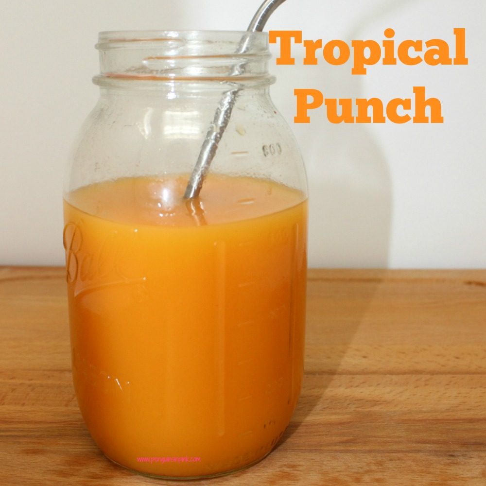 Tropical punch is a delicious blend of pineapple, orange, and mango juices with a bit of cherry grenadine for color reminiscent of sunset.