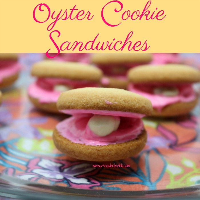 Oyster Cookie Sandwiches are a cute, fun dessert to have at all beach themed gatherings. Using store bought cookies, frosting, and yogurt covered raisins makes these treats quick to whip up.