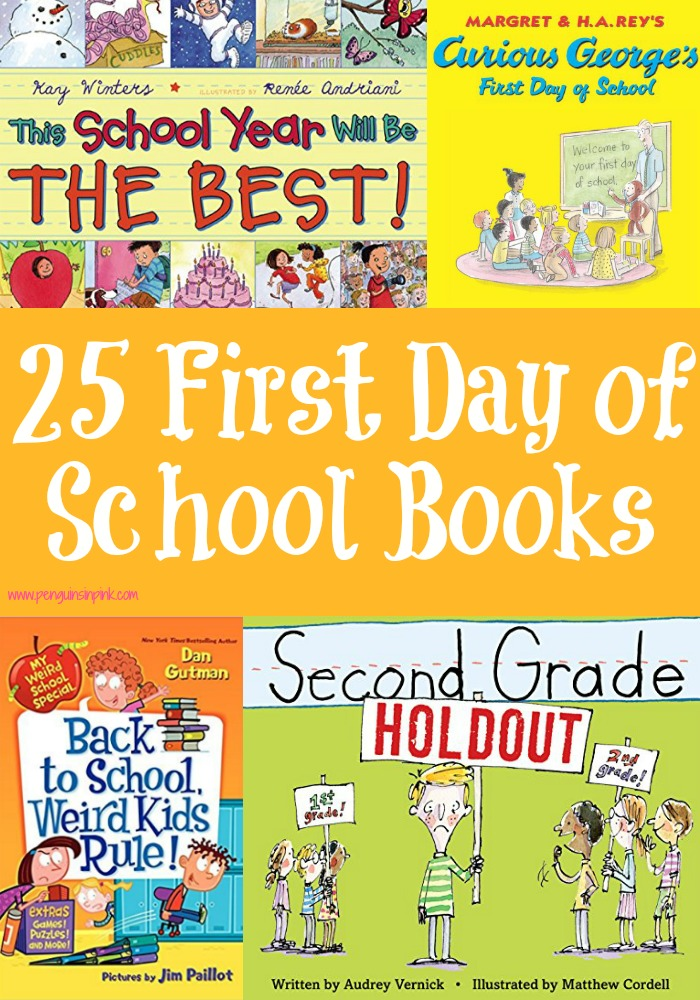 From Preschool to 5th Grade this list of 25 First Day of School Books has something for everyone. From sweet poems that help ease jitters to mysteries that need to be solved there's bound to be a book of interest to your child.