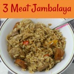 3 Meat Jambalaya is a spicy blend of three meats, peppers, and rice. This delicious dish allows can be made with any meat which makes it the perfect dish to re-purpose leftover meat.