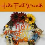 Get ready to celebrate the fall season with this fun and easy to make hello fall wreath. The wreath is full of festive fall items from the ombre of fall colors on the hello fall sign and leaves to the bountiful gourds and cheerful scarecrows.