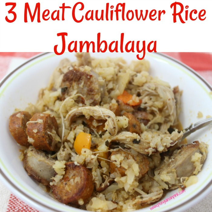 3 Meat Cauliflower Rice Jambalaya is a spicy, lower carb blend of three meats, peppers, and cauliflower rice. This delicious dish allows can be made with any meat which makes it the perfect dish to re-purpose leftover meat.