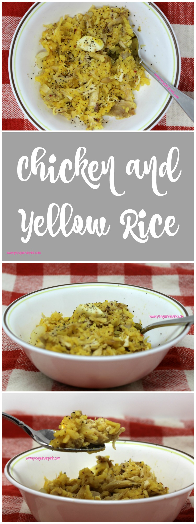 Chicken and Yellow Rice - A hearty, dish filled with savory, saffron rice, juicy chicken, eggs, onions, and garlic for a soon to be family classic.