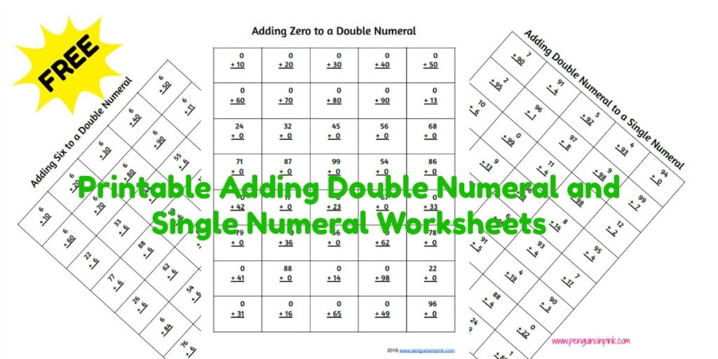 These FREE printable adding double numeral and single numeral worksheets contain 40 problems per page with one page of adding a double number to a single number. There are also 5 additional sheets of adding 10 to 99 with zero to nine.