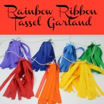 Rainbow Ribbon Tassel Garland is a colorful, festive and simple garland to make. Perfect for spring or St. Patrick's Day party decor or birthday parties featuring unicorns, fairies, or rainbows.
