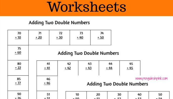 Printable Adding Two Double Numbers Worksheets