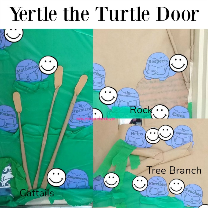 This Yertle the Turtle door for Dr. Seuss Week focuses on the qualities of a good leader as opposed to Yertle and his bad leadership.