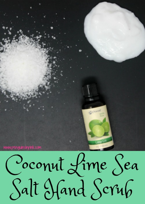 This coconut lime sea salt hand scrub is super easy to make and takes less than 5 minutes to whip up. It only contains 3 ingredients!