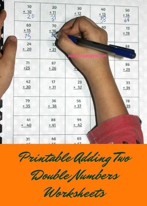 These FREE printable adding two double numbers worksheets contain seven pages of adding two double numbers from 10 to 99. Each page of the packet contains 40 problems.