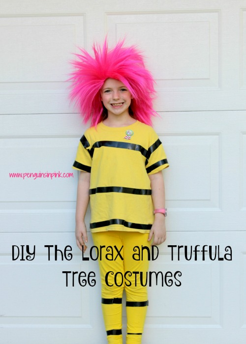 These DIY The Lorax and Truffula Tree Costumes are super cute and easy to make. The bulk of the costumes are made with t-shirts and leggings. I tried to use materials that we had at home for the costumes i.e. t-shirts and leggings. Then added a few key items to give the costumes more character.