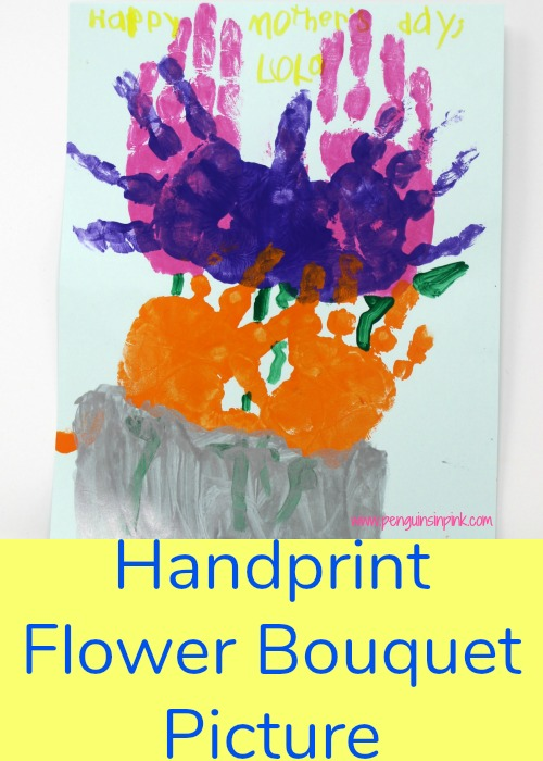 The handprint flower bouquet picture is a fun and simple craft for toddlers and kids that makes a wonderful gift for moms, dads, grandparents, friends, and family.