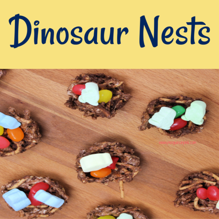 If you've got a dino-loving kid then you have to try these Dinosaur Nests. They are a fun, sweet snack filled with dinosaur shaped marshmallows and jelly beans for eggs.