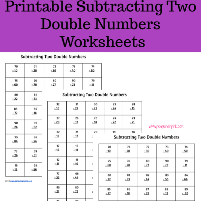 These FREE printable subtracting two double numbers worksheets contain seven pages of subtracting two double numbers from 10 to 99. Each page of the packet contains 40 problems.