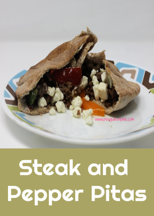 Flavorful and quick cooking Steak and Pepper Pitas make this Greek-inspired dinner delicious, fast, and healthy.