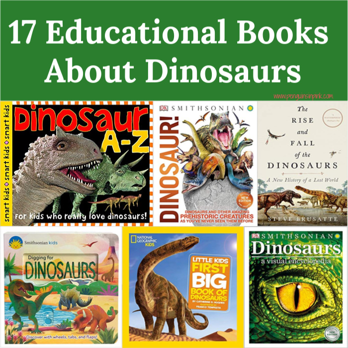 From toddlers to adults this list of 17 Educational Books About Dinosaurs is sure to satisfy yours kids' curiosity while answering all their questions about dinosaurs.