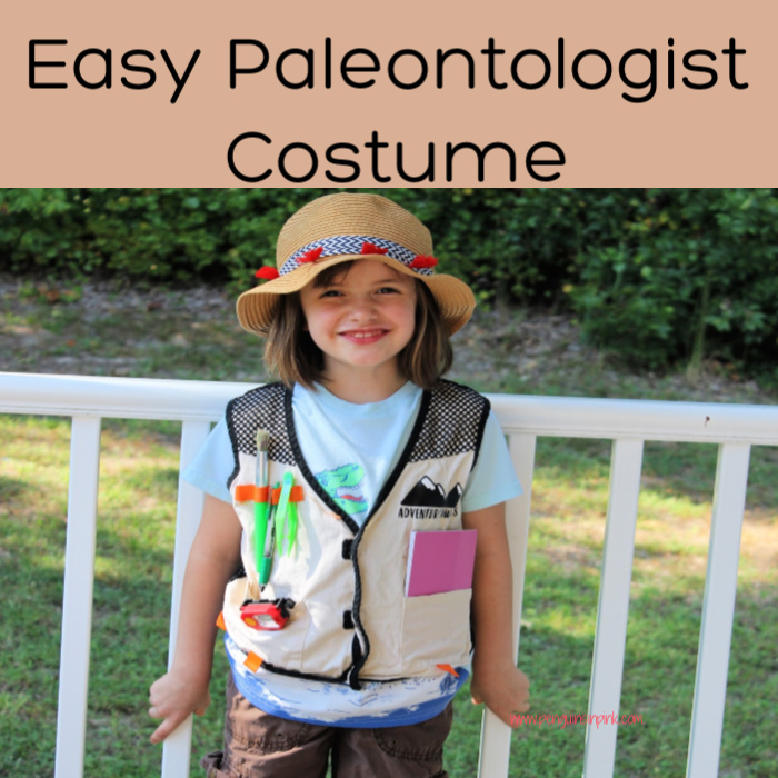 This easy paleontologist costume is super cute and easy to make. The base of the costume is made with items you probably have on hand like cargo pants, t-shirt, and hiking shoes.
