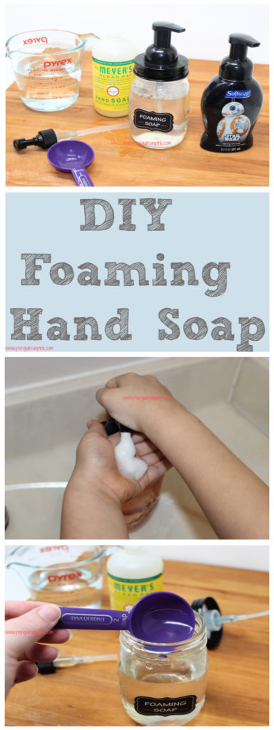 DIY foaming hand soap is so easy to make and takes less than 5 minutes to whip up. It only contains 2 ingredients and can be made for practically nothing!