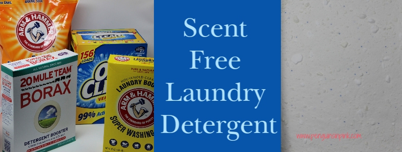 "Scent Free Laundry Detergent is a homemade laundry detergent that is comparable to the ""free and clear"" commercial laundry detergents. It makes about 326 loads worth of detergent for less than $25."