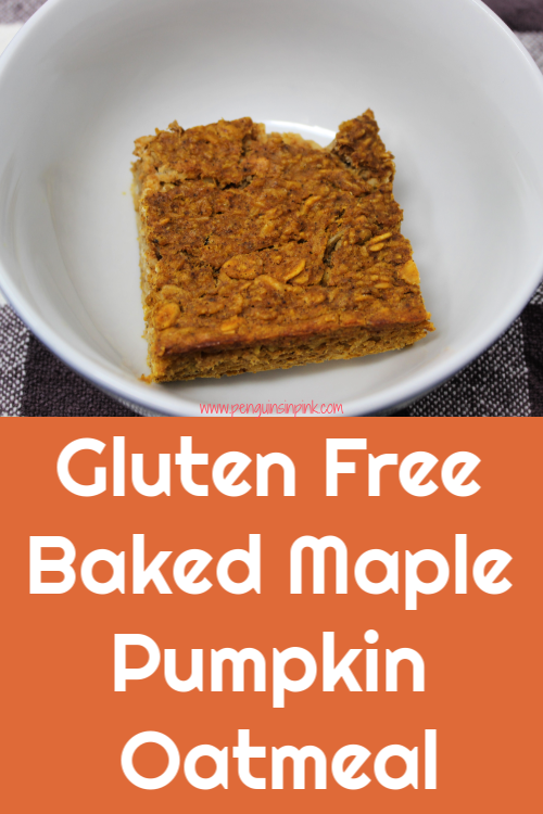 Gluten Free Baked Maple Pumpkin Oatmeal is a flavorful, moist, baked maple and pumpkin oatmeal that makes a healthy and complete breakfast. It's also dairy free! I love that a batch of this feeds three for a almost a week.