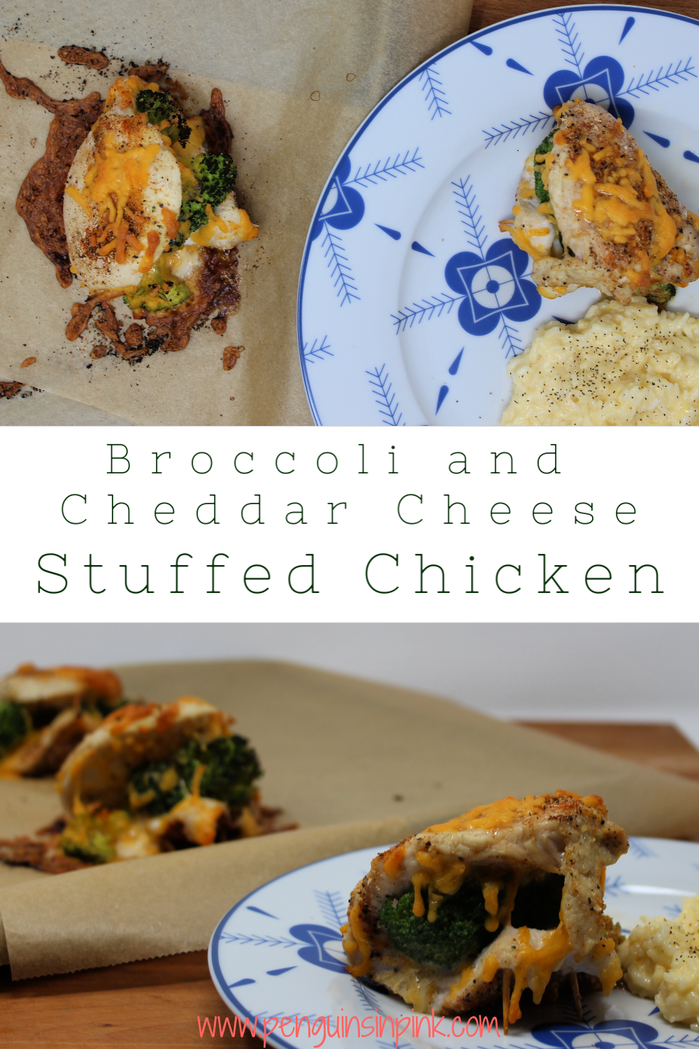 Broccoli and cheddar cheese stuffed chicken breasts are seasoned with a blend of paprika, garlic and onion powders and then filled with broccoli cheese.