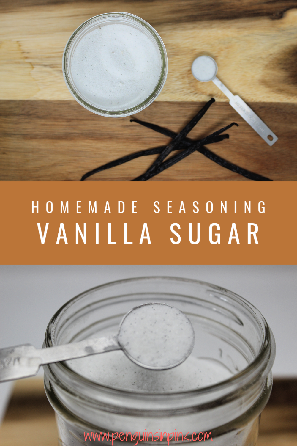 Enhance the vanilla flavor in everything from coffee and tea to cakes and cookies with this flavorful, homemade version of vanilla sugar seasoning. It is a 1:1 mix of white sugar and vanilla beans.