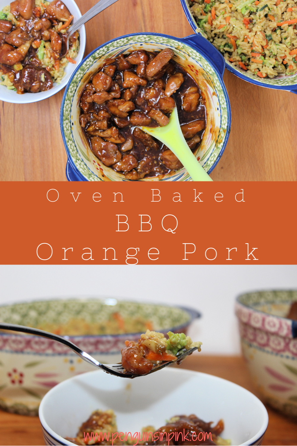 Pork roast pieces are seasoned with a blend of garlic, ginger, allspice, and white pepper and baked in the oven before being covered in orange BBQ sauce.