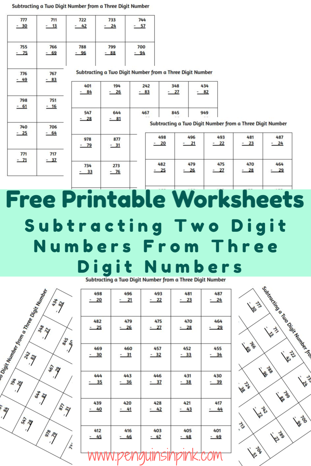 These FREE printable subtracting two digit numbers from three digit numbers worksheets contain 13 pages of subtraction from 100 to 999. Each page of the packet contains 30 problems.