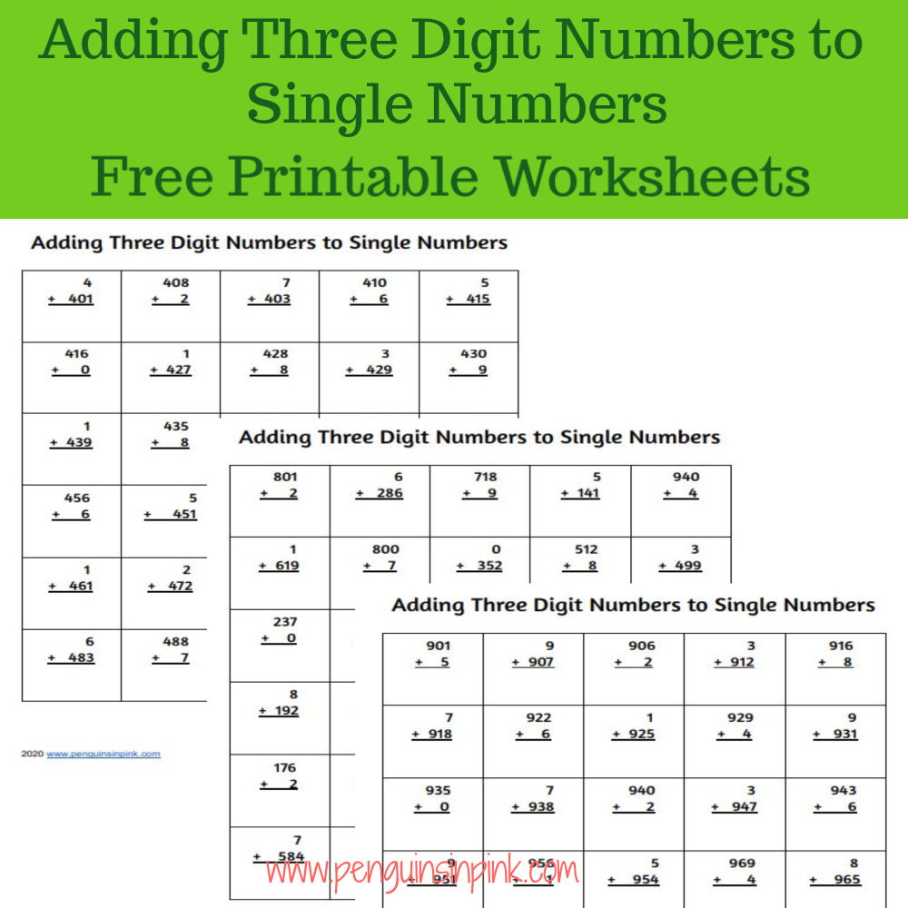 These FREE printable adding three digit numbers to single numbers worksheets contain 13 pages of adding from 100 to 999. Each page of the packet contains 30 problems.