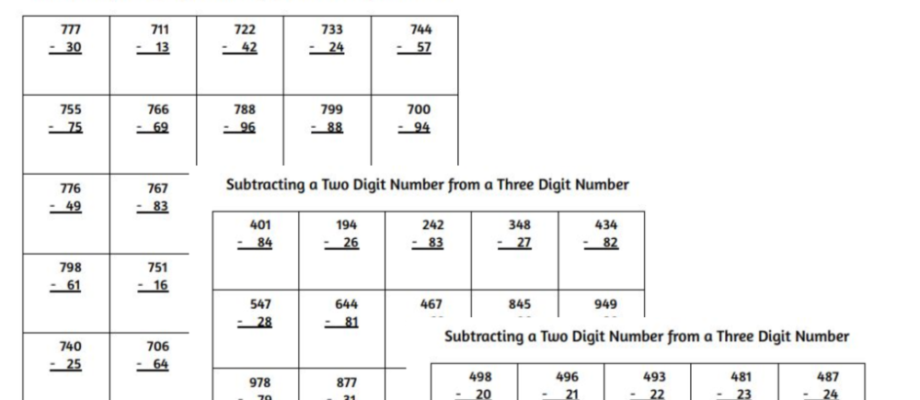 Printable Subtracting Two Digit Numbers From Three Digit Numbers Worksheets