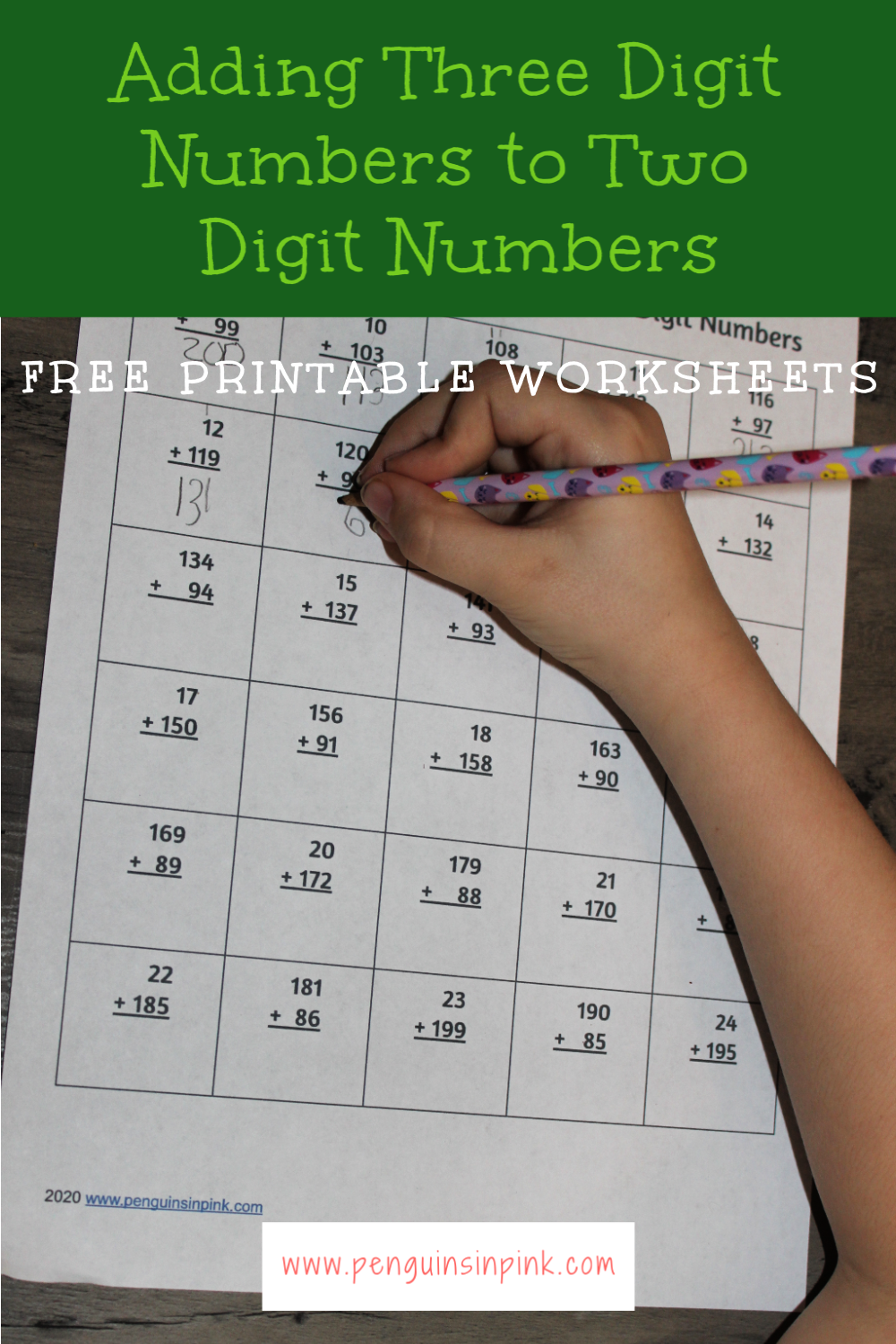 These FREE printable adding three digit numbers to two digit numbers worksheets contain 13 pages of adding from 100 to 999. Each page of the packet contains 30 problems.