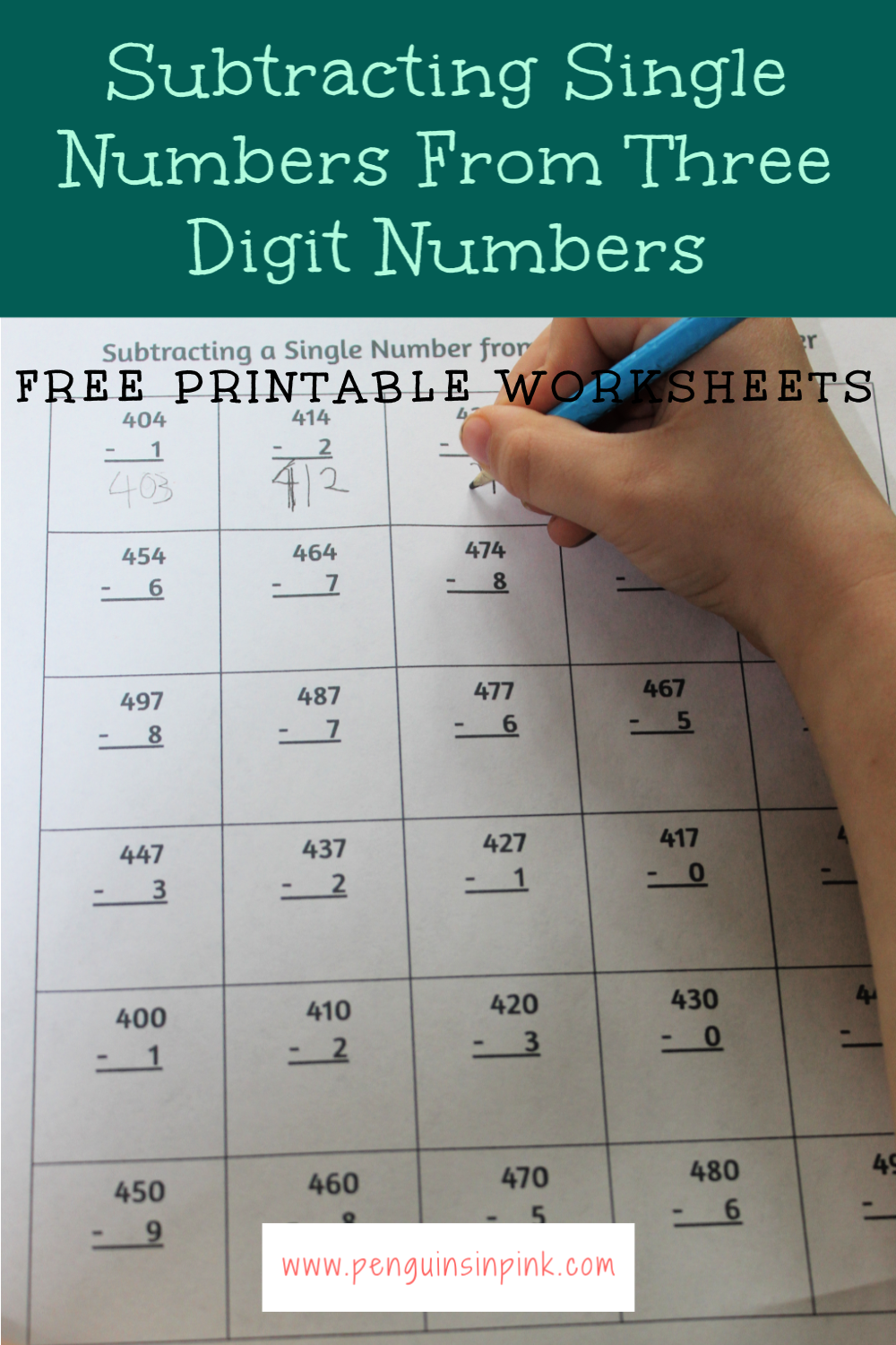 These FREE printable subtracting single numbers from three digit numbers worksheets contain 13 pages of subtracting from 100 to 999. Each page of the packet contains 30 problems.