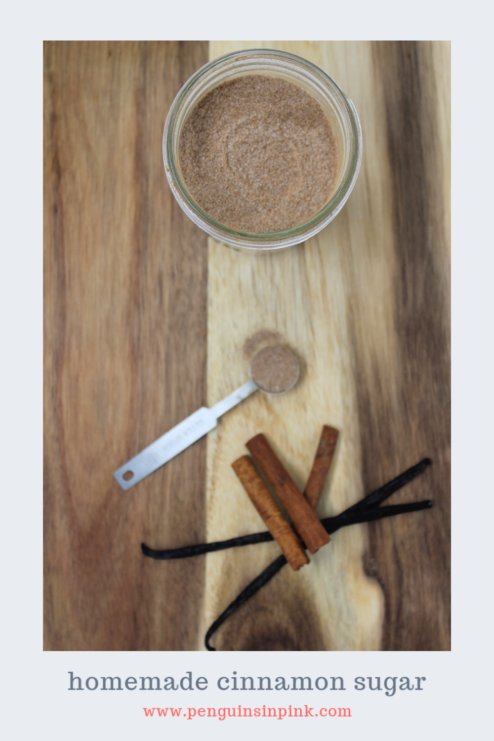 Kick up the flavor of everything from coffee to toast and oatmeal with this flavorful, homemade version of cinnamon sugar seasoning. It is a mix of vanilla sugar and cinnamon.